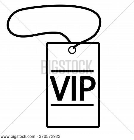 Vip Neck Tag On White Background. Vip Tag Sing. Flat Style. Vip Symbol.