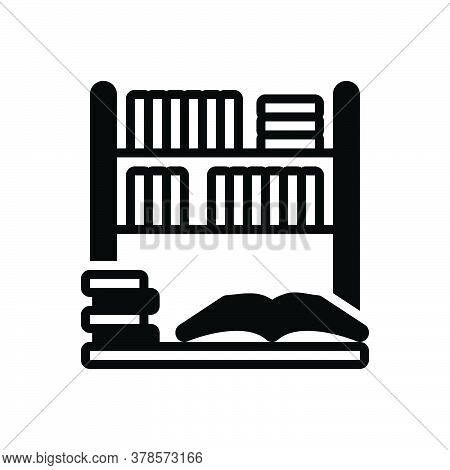 Black Solid Icon For Library Bookshelf Bookstore Collection Education Learning Reading Publication E