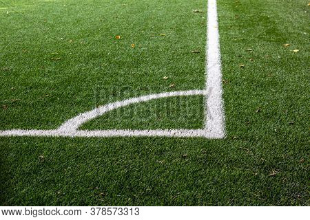 Corner Of A Soccer Field In An Stadium. Markings Of A Football Field. Playing Sports Field, Corner K