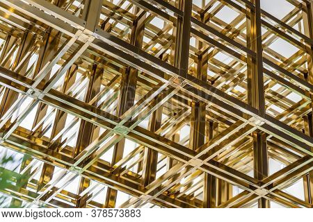 Modern Design With Square Pattern And Geometric Structure Of Ceiling Decoration, Part Of A Modern Ce
