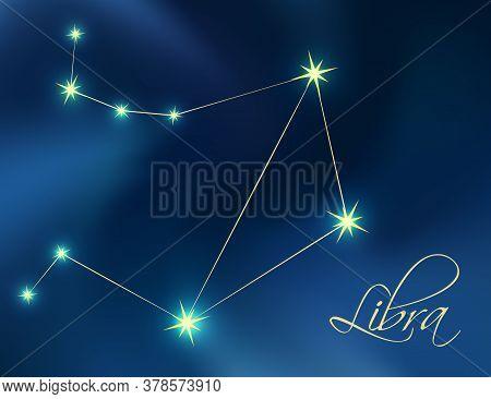 Libra Constellation Astrology Vector Illustration. Stars In Dark Blue Night Sky. Libra Zodiac Conste