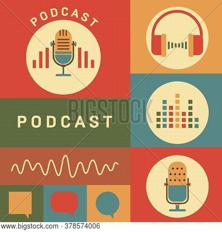 Podcast Radio Icons Illustration. Studio Table Microphone With Broadcast Text On Air.