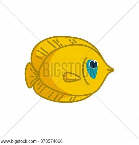 Bluecheek Butterflyfish Isolated In White Background. Colorful Yellow Tropical Fish. Vector Illustra