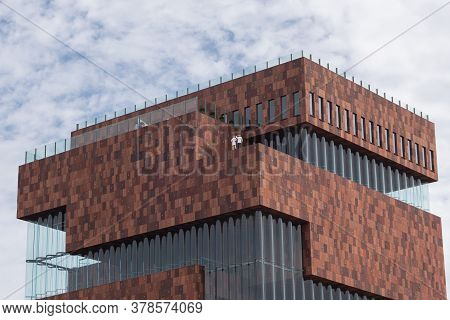 Antwerp, Belgium, July 19, 2020, Close Up Of The Top Of The Mas, Museum On The River