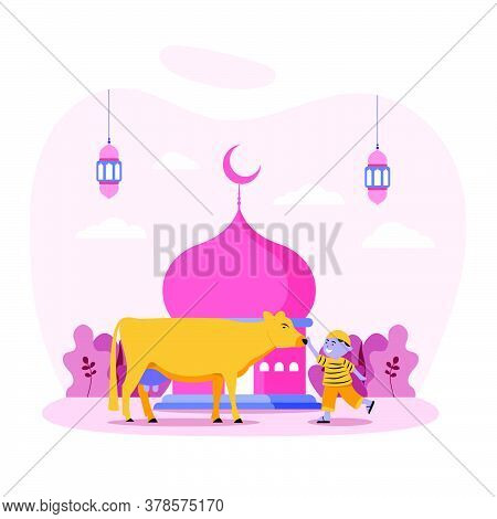 Happy Boy Play With Cow In Front Of Mosque. Islamic Design Illustration Concept For Happy Eid Al Adh