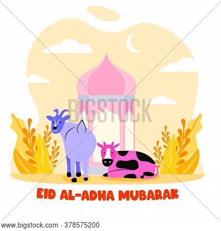 Happy Cow And Goat In Front Of Lantern Colorful Flat Illustration. Islamic Design Illustration Conce