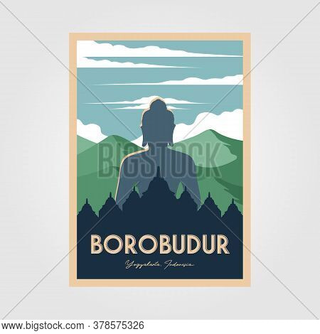 The Magnificent Borobudur Temple Vintage Poster Vector Wonderful Indonesia Illustration
