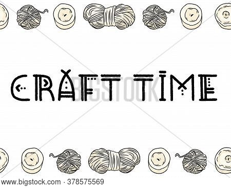 Craft Time Boho Indigenous Typography With Cotton Yarn Threads Seamless Border Pattern. Cozy Bohemia