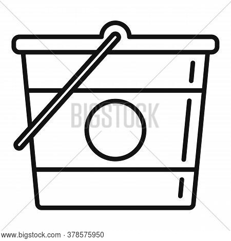 Construction Bucket Icon. Outline Construction Bucket Vector Icon For Web Design Isolated On White B