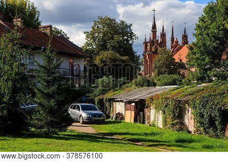 Vilnius, Lithuania - September 6, 2019: One Of The Courtyards Of Uzupis District In Vilnius, Lithuan