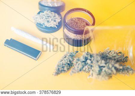 Cannabis Weed Bud And Grinder. Joint Weed. Marijuana Nature Bud. Sativa Indica Medical Health.
