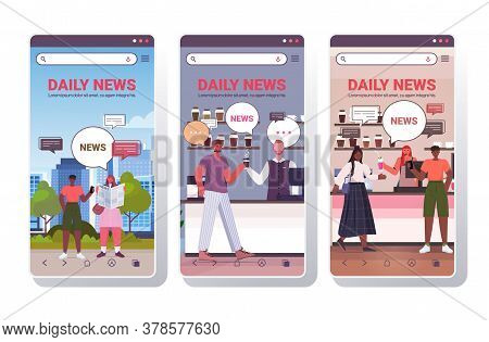Set People Reading Newspaper Discussing Daily News During Meeting Chat Bubble Communication Concept