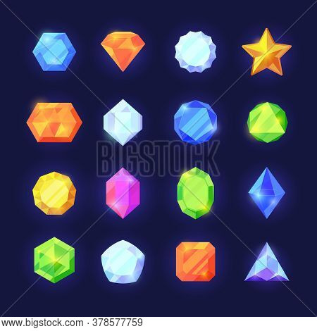 Crystals Game Color Set. Mobile Interface Shiny Jewelry Of Various Geometric Shapes Blue Diamonds Or