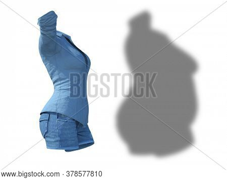 Conceptual fat overweight obese shadow female jeans shirt vs slim fit healthy body after weight loss or diet thin young woman isolated. Fitness, nutrition or obesity health shape 3D illustration