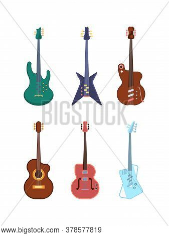 Guitars Colored Set. String Instruments Acoustic Jumbo Dreadnought Deck Form Retro And Modern Equipm