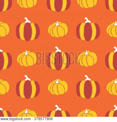 Pumpkins Seamless Vector Pattern. Pumpkins Red Orange Yellow Repeating Background For Harvest Festiv