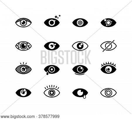 Human Eye Set. Eye Health Signs, Lens, Eyeball, Eye Drops Symbols For Vision, Eyesight, Ophthalmolog