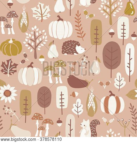 Autumn Seamless Vector Pattern In Subtle Fall Colors. Repeating Brown Gold White Background Hedgehog