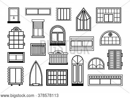 Windows And Glass Doors Set. Collection Of Arch Shaped Plastic Frames, Decorative Exterior Elements