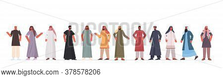 Set Arabic Men In Traditional Clothes Arab Male Cartoon Characters Collection Full Length Isolated H