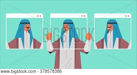 Arab Man Holding Web Browser Windows With Different Masks Guy Covering Face Emotions Fake Feeling De