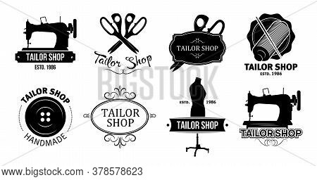 Tailor Shop Logos Set. Vintage Sewing Machines, Scissors, Thread And Needle, Button, Mannequin Vecto
