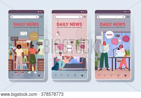 Set People Reading And Discussing Daily News Chat Bubble Communication Concept Smartphone Screens Co
