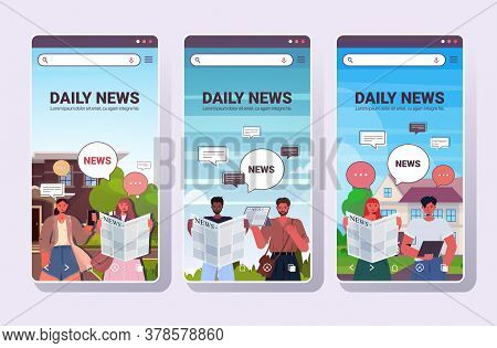 Set People Reading And Discussing Daily News Chat Bubble Communication Concept Mix Race Men Women Wa