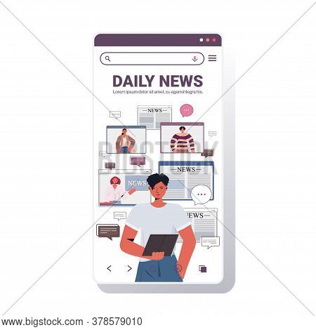 Man Using Tablet Pc Discussing Daily News With Friends During Video Call Chat Bubble Communication C