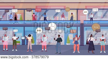 People Discussing Daily News During Meeting In Shopping Mall Chat Bubble Communication Concept Mix R