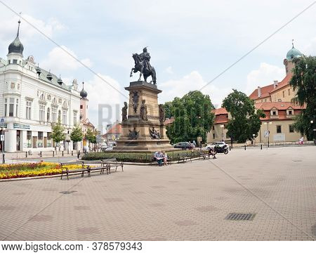 July 20th 2020, Podebrady, Czechia. Square Of King George Of Podebrady With His Equestrian Statue