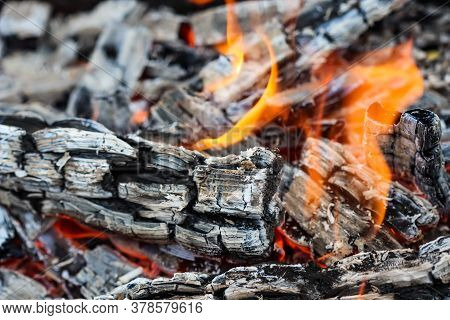 Flames Of Fire And Hot Coals Of Burned Wood. Space For Copy, Text, Your Words.