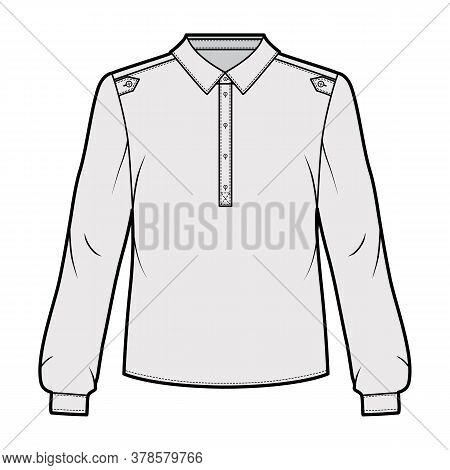 Henley Shirt Technical Fashion Illustration With Buttoned Placket, Shoulder Epaulettes, Classic Mili