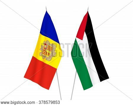 National Fabric Flags Of Palestine And Andorra Isolated On White Background. 3d Rendering Illustrati