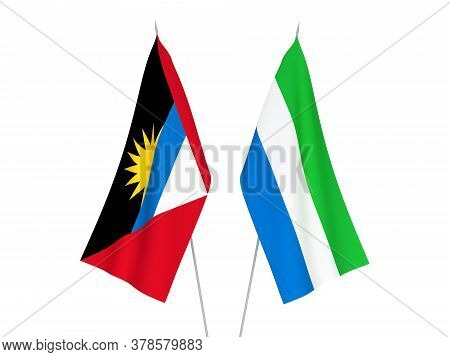 National Fabric Flags Of Sierra Leone And Antigua And Barbuda Isolated On White Background. 3d Rende