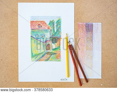 July Of 20th 2020, Prague Czechia. Old House In Prague. Crayon Drawing Workshop