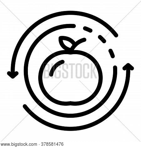 Fruit Apple Digestion Icon. Outline Fruit Apple Digestion Vector Icon For Web Design Isolated On Whi