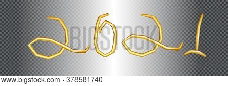 2021 Happy New Year. Shining Realistic 3d Golden Inscription 2021. Holiday Vector Illustration Of Go