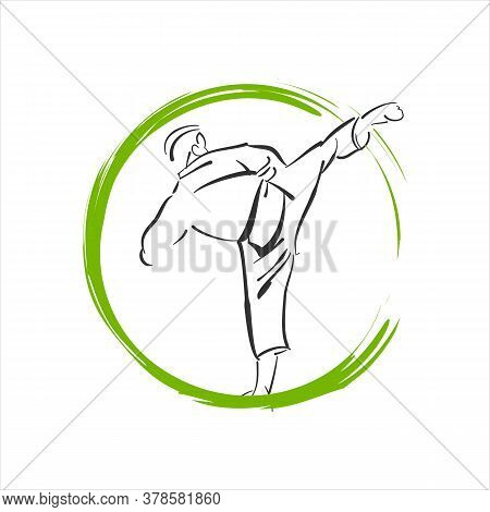 Custom Martial Arts Logo Design Vector Illustration For Karate, Judo, Taekwondo Etc