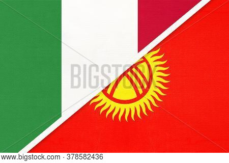 Italy Or Italian Republic And Kyrgyzstan Or Kyrgyz Republic, Symbol Of Two National Flags From Texti