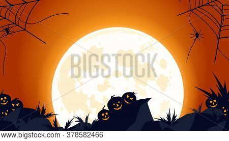 Cobwebs And An Abandoned Wasteland With Pumpkins And Scary Thickets. Scary Halloween Isolated Backgr