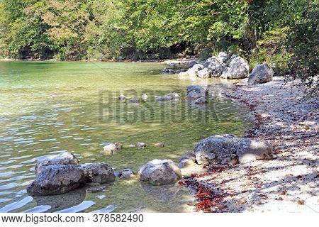 Beautiful Slovenian Landscape Bohinj Lake, With Turquoise Water
