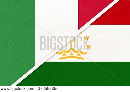 Italy Or Italian Republic And Tajikistan, Symbol Of Two National Flags From Textile. Relationship, P