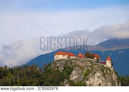 Medieval Bled Castle Above Lake Bled In Slovenia