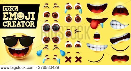 Cool Emoji Smiley Creator Vector Set. Smiley Emojis Maker In Cool Happy Face With Sunglasses And Edi