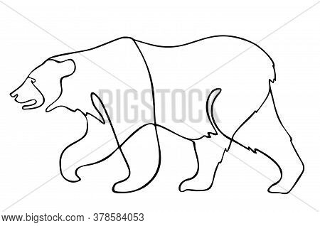 Continuous Line Going Bear. Vector Illustration. One Single Line Drawing Of Bear For Company Logo Id