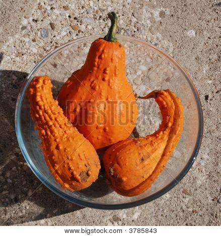 Three Orange Squashes In Bowl