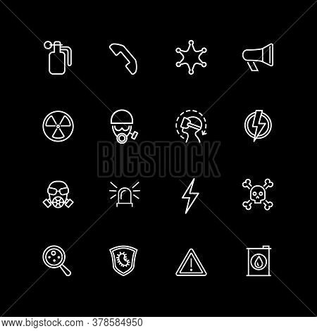 Set Of Danger Sign Line Icons. Poison, Radiation Hazard, High Voltage. Caution Signs Concept. Illust