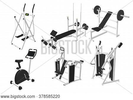 Vector Isometric Fitness Or Gym Exercise Machines. Treadmill, Rowing Machine, Dumbbells, Exercise Bi