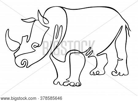 Rhino One Line Drawing. One Continuous Line Drawing Of Strong White Rhinoceros For Company Logo Iden